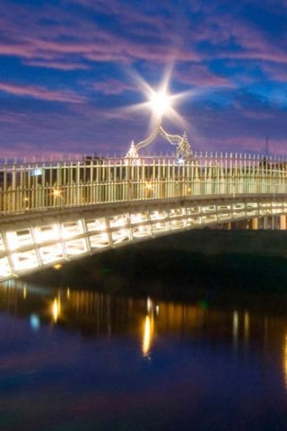 Hapenny Bridge by Night in Dublin City Centre